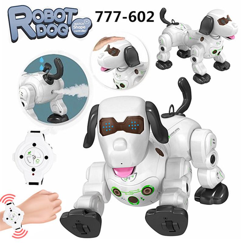 2020 777-602S New Remote Control Smart Robot Dog 2.4G Wireless Kids Toy Intelligent Talking Robot Dog Electronic Pet kid Gift White