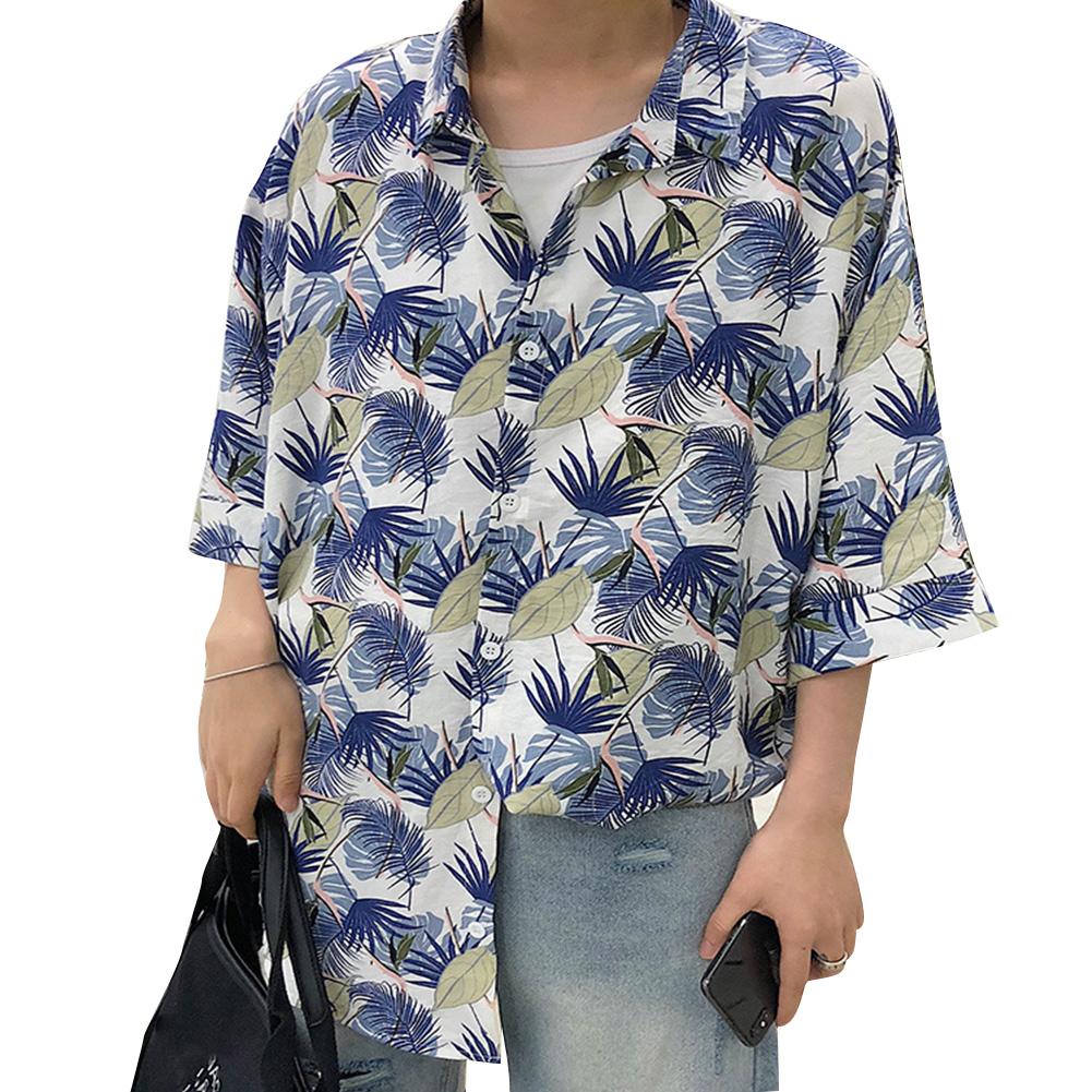 Women Men Leisure Shirt Personality Floral Printing Short Sleeve Retro Hawaii Beach Shirt Top Summer C105 #_L