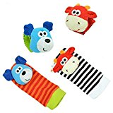 [EU Direct] 4 pcs Newest Baby Infant Soft Toy Wrist Rattles Hands Foots finders Developmental( 2 different style, random delivery)by lanlan
