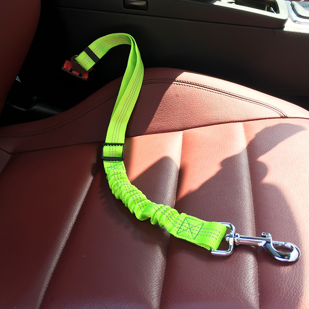 Car Seat Belt Dog Leash Elastic Reflective Safety Traction Rope green_L