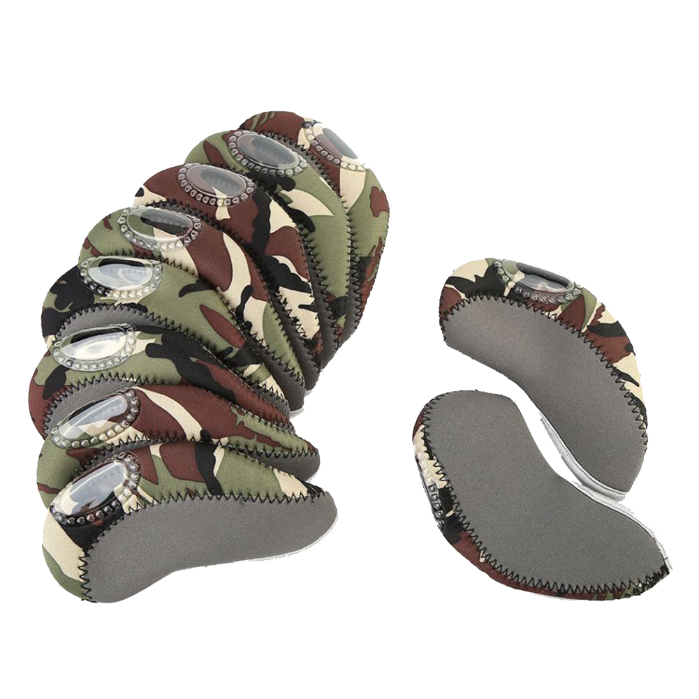 10 Pcs/set Golf Club Iron Head Cover Set Neoprene Golf Protective Headcovers Golf Accessories Gray + camouflage