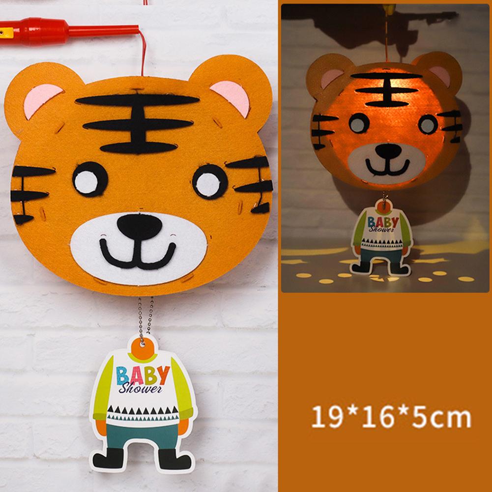 Kids  Handmade  Cartoon Luminous Lantern Diy Portable Puzzle Toy Little Tiger_The New