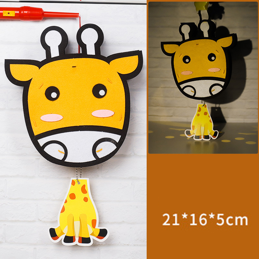 Kids  Handmade  Cartoon Luminous Lantern Diy Portable Puzzle Toy giraffe_The New