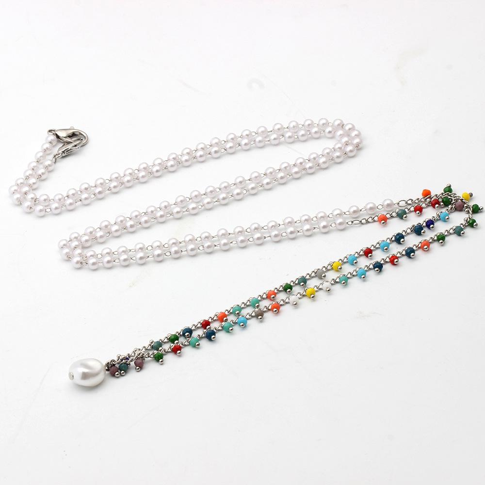 Mask Lanyard Alloy Pearl Chain Colorful Beaded Eyeglass Chain