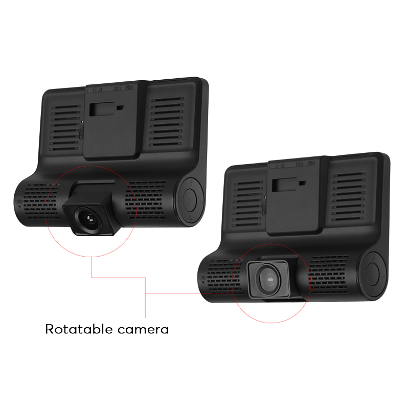 Car DVR Kit - 3 Cameras, G-Sensor, Loop Recording, Rear View Parking Cam, 4-Inch Display, 320mAh, 1W Speaker, 32GB SD Card Slot