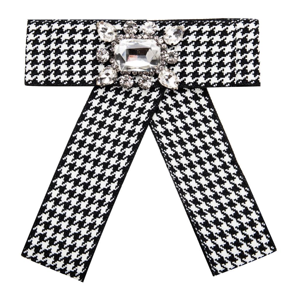 Women Grid Stripe Bowknot Corsage Brooch Breastpin Multi-layered Alloy Inlaid Rhinestone Valentine's Day Gift white