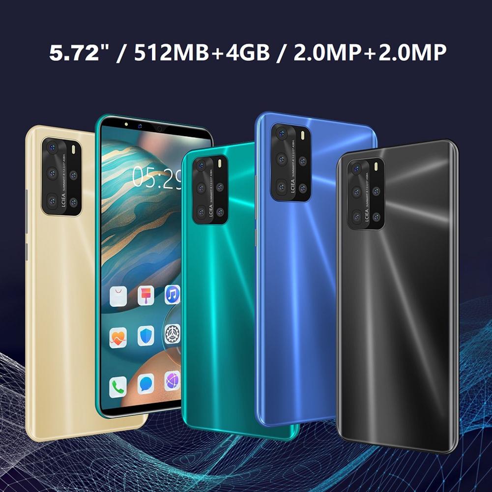 5.72-inch Screen Smart Phone P232 P58 Pro Smartphone 4g+512MB Multi-language Phone Blue (US Plug)