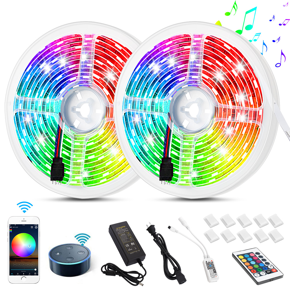 [US Direct] Non-waterproof LED light strip, American standard, Wifi wireless smart phone control strip light kit 32.8ft 300led 5050 non-waterproof LED light, using Android and IOS system, Alexa