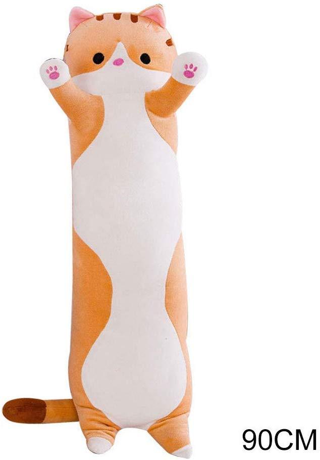 Sleeping Cat Hugging Pillow Plush Cat Doll Soft Stuffed Kitten Pillow Gifts for Kids Girlfriend Orange