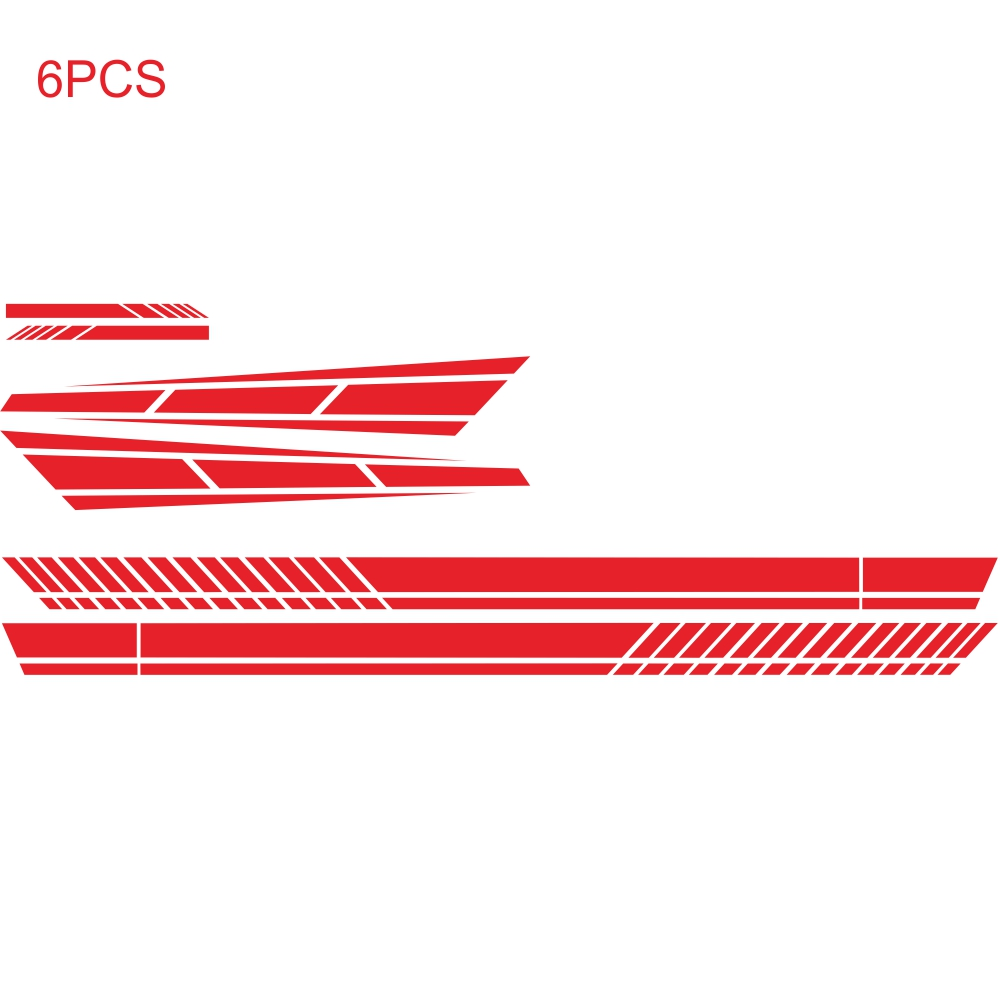 6PCS Long Stripe Graphics Car Racing Side Body Hood Mirror Vinyl Decal Sticker red