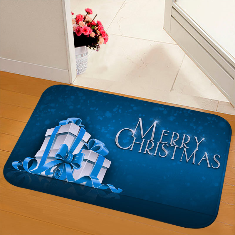 New Christmas Snowman Printed Soft Flannel Floor Mat Bathroom Anti Slip Mat Rug white_40*120cm