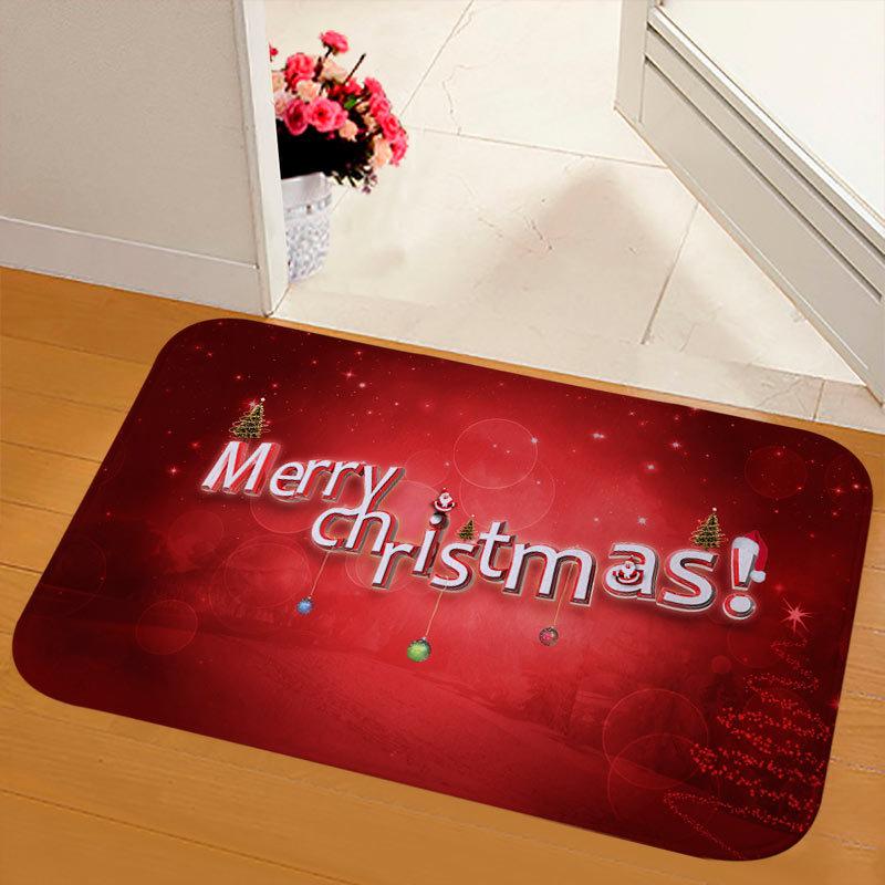 New Christmas Snowman Printed Soft Flannel Floor Mat Bathroom Anti Slip Mat Rug milky_40*120cm