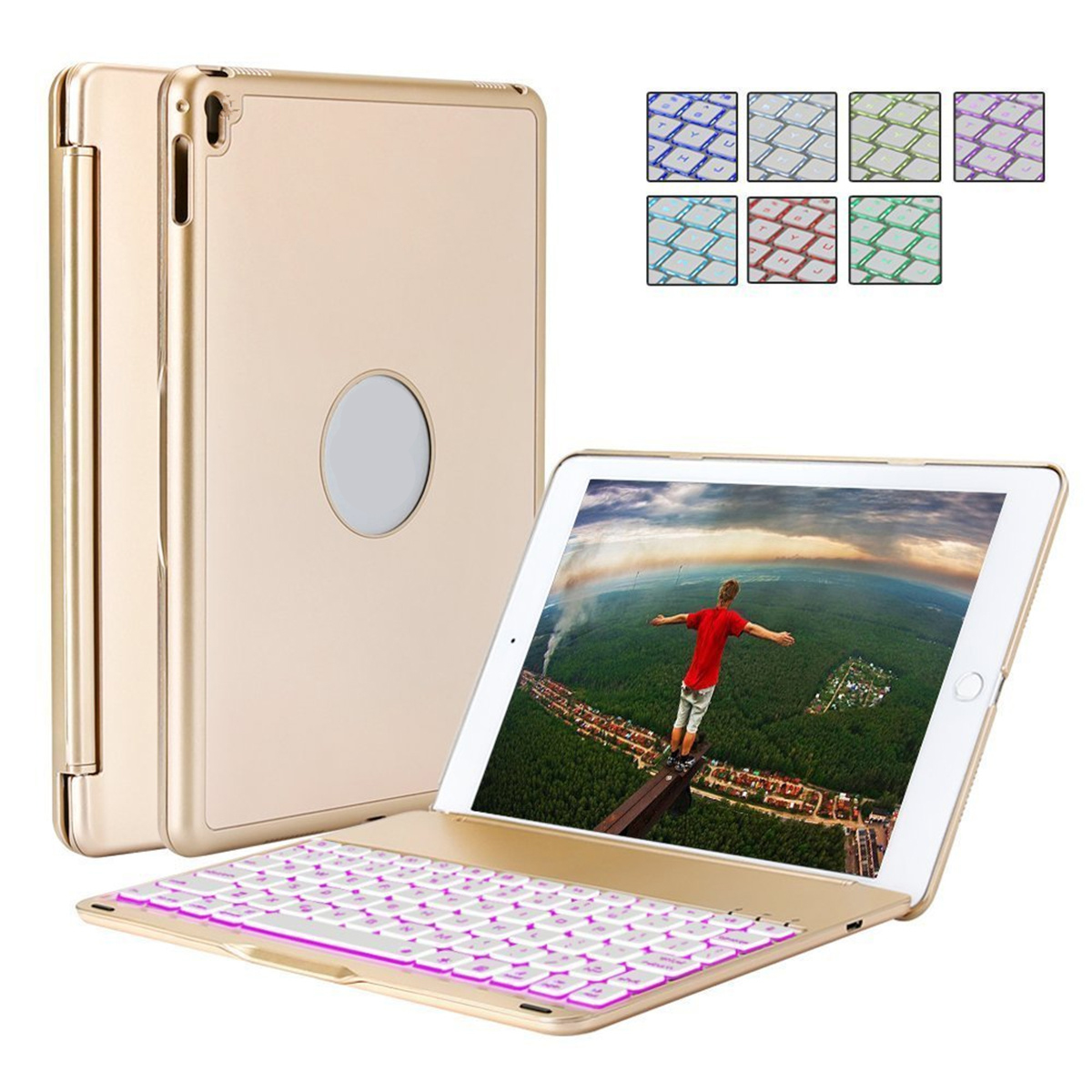 10.5inch Wireless Bluetooth Keyboard for iPad Pro 10.5/ iPad Air3 Colorful Backlit Gold