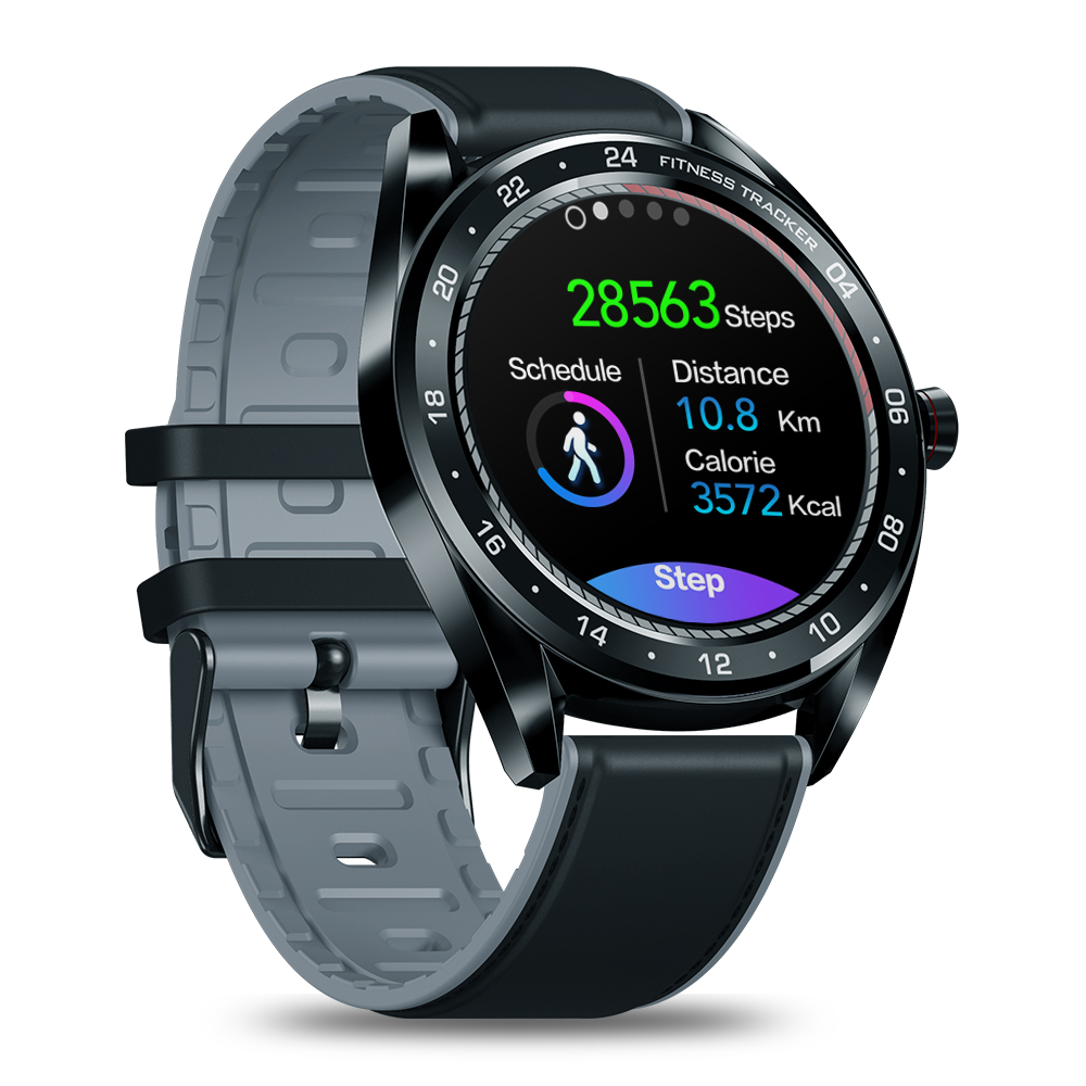 Original ZEBLAZE Smart  Watch Color Touch Screen Device Heart Rate Blood Pressure Monitoring Countdown Female Health Black watch with black belt