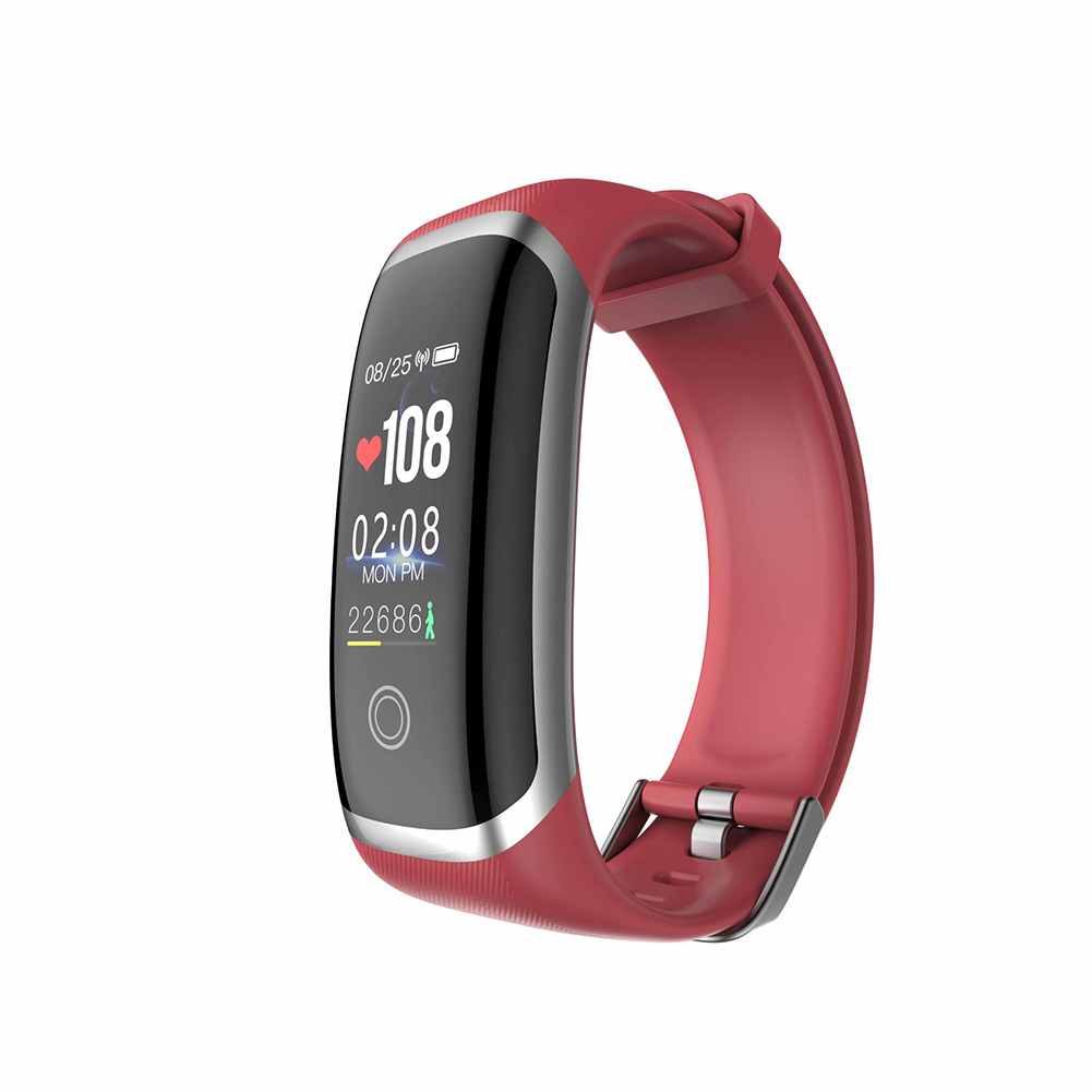 M4 Colorful Screen Smart Watch Continuous Heart Rate Blood Pressure Health Monitoring Sports Ip67 Waterproof Bracelet Silver red