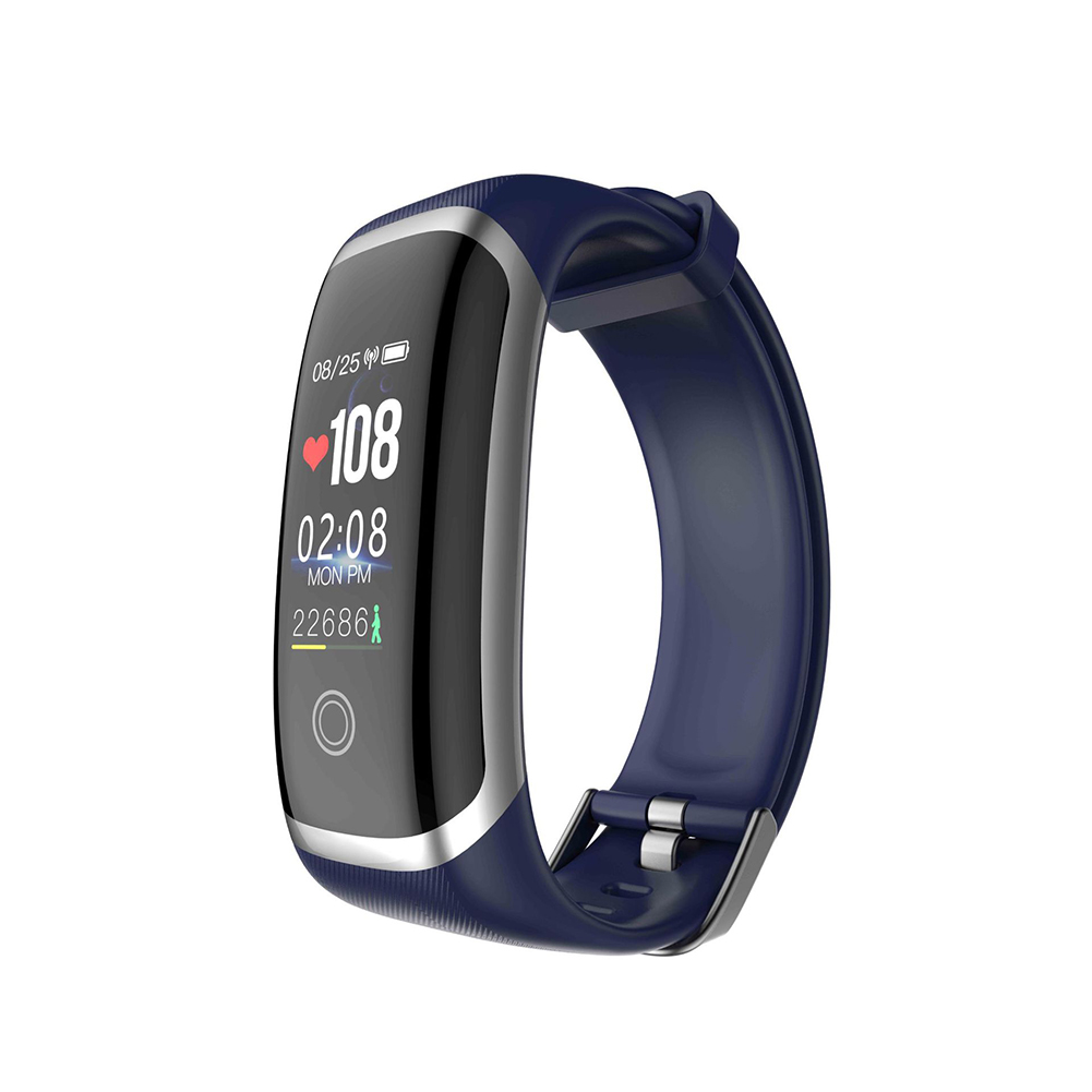 M4 Colorful Screen Smart Watch Continuous Heart Rate Blood Pressure Health Monitoring Sports Ip67 Waterproof Bracelet Silver blue