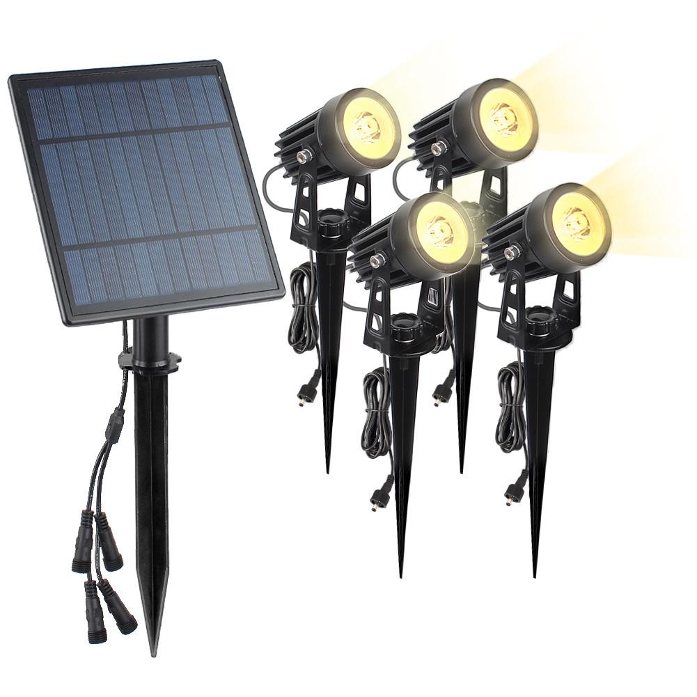 4 in 1 Solar Powered Spotlight Outdoor Waterproof High Bright Landscape Patio Garden Lawn Lamp