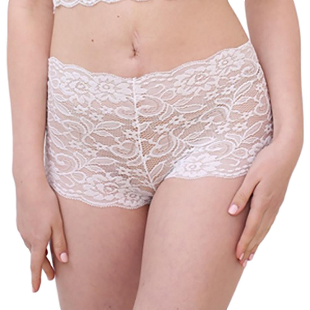 Women's Underpants Lace Sexy Lingerie See-through Large Size Boxer Briefs white_L