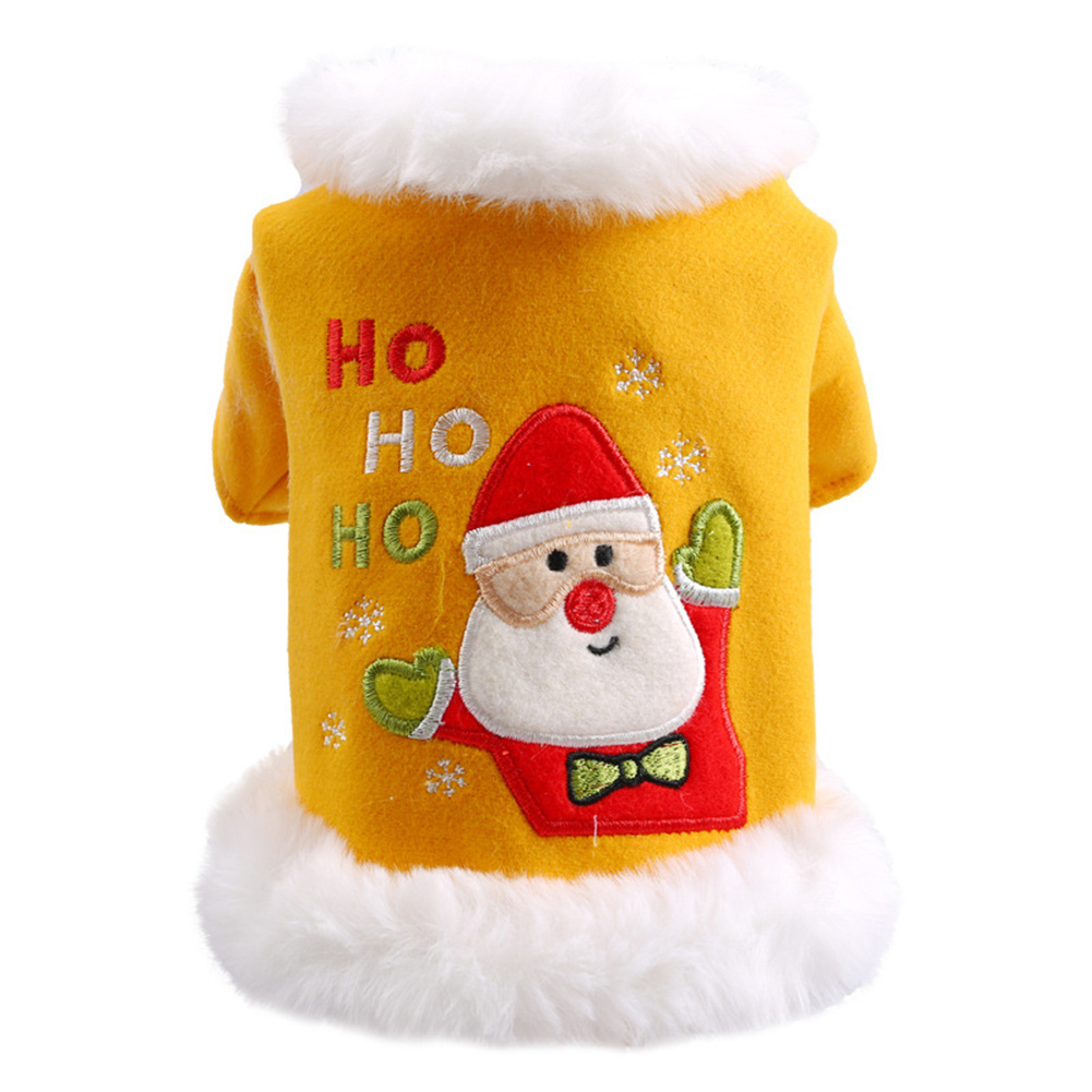 Plush Collar Dog Christmas Clothes Winter Thickening Warm Santa Claus Print Holiday Coat Cats Clothing Teddy Yellow Pet Costumes Yellow_XL