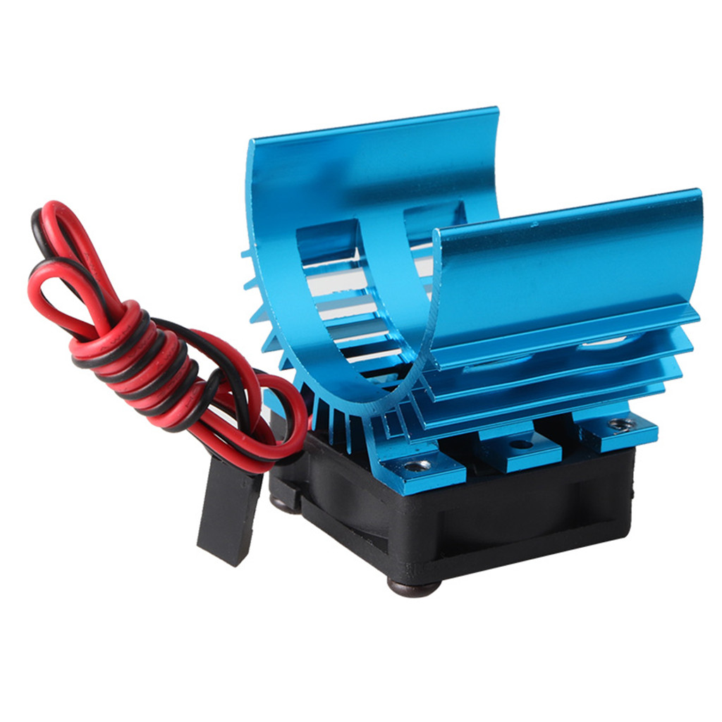 RC Parts Brushless Aluminum Electric 540 550 Motor Heat Sink Cover + Cooling Fan Heatsink 1/10 For HSP Himoto Redcat blue