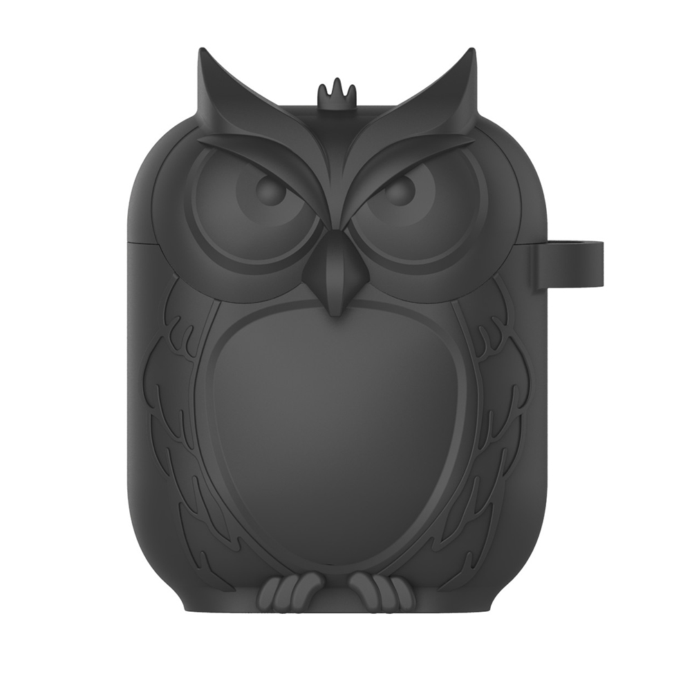 Owl Shape Airpods Case Cover - Black