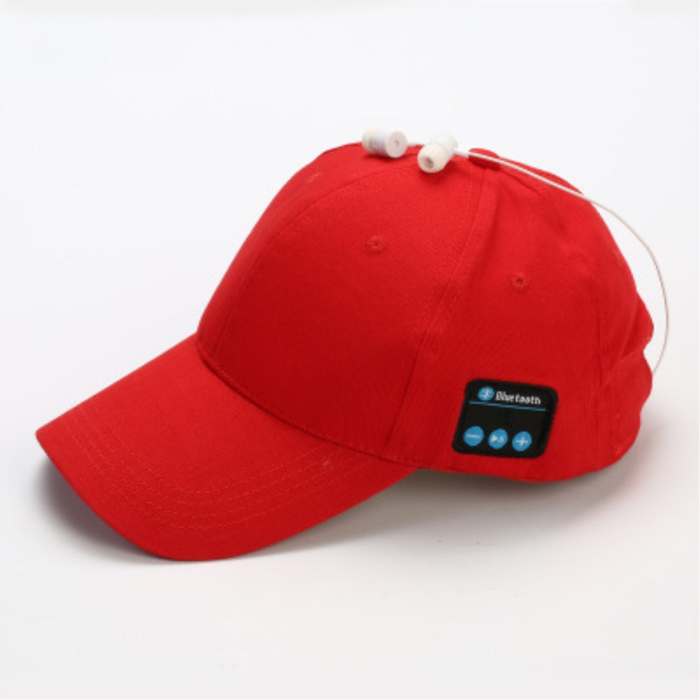 Wireless Bluetooth Earphones Sport Music Cal Baseball Cap Ourdoor Headset Big red