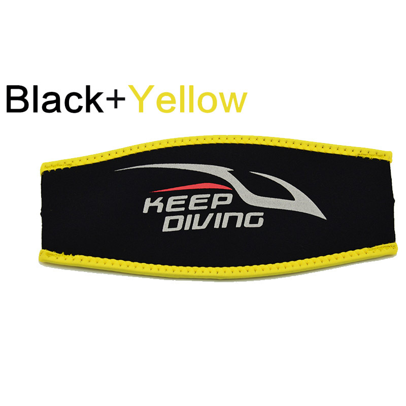 Scuba Diving Mask Head Strap Cover Mask Padded Protect Long Hair Band Strap-Wrapper  Black yellow edge_Free size