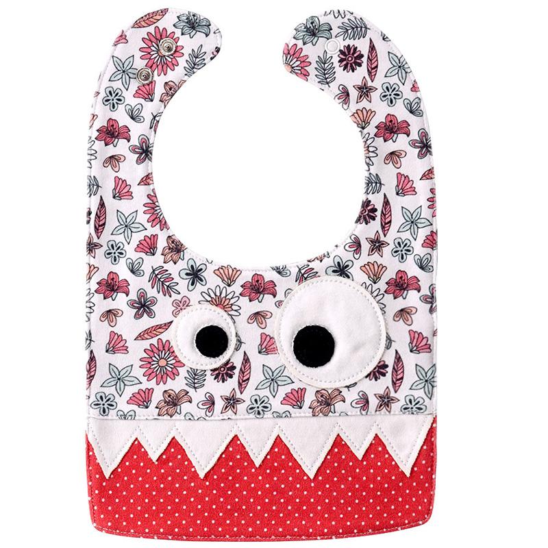 Baby Bibs Pure Cotton Saliva Towel Kids Pinafore 03 red flower + wave