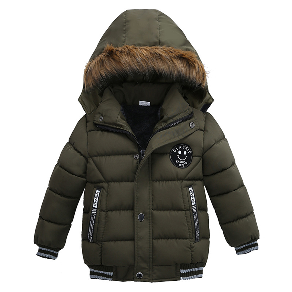 Baby Boy Jackets Winter Warm Thick Hooded Zipper Coat Fashion Outwear Clothes Green_110cm