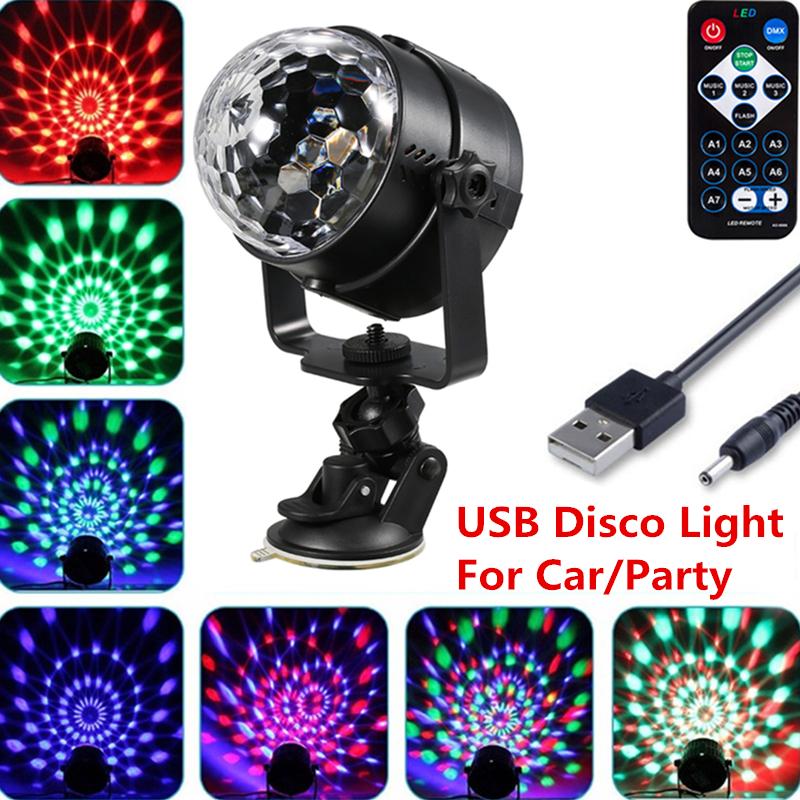 USB Disco Light Car Light 7 Color Changing 3W RGB Mini Crystal Magic Rotating Ball Effect Light Party Disco Club DJ Light Show With remote control