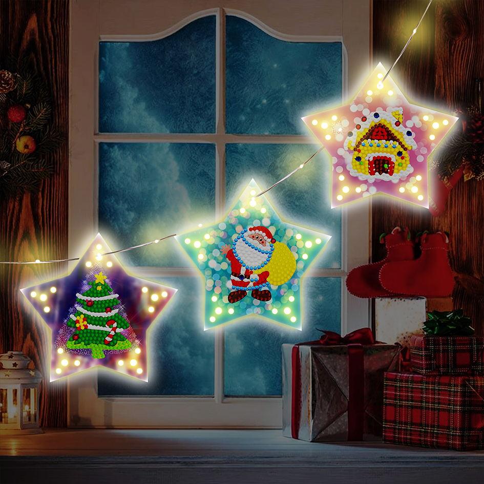 Christmas Diy Diamond Painting Christmas Tree Pendant  Decoration With Light String GSD04