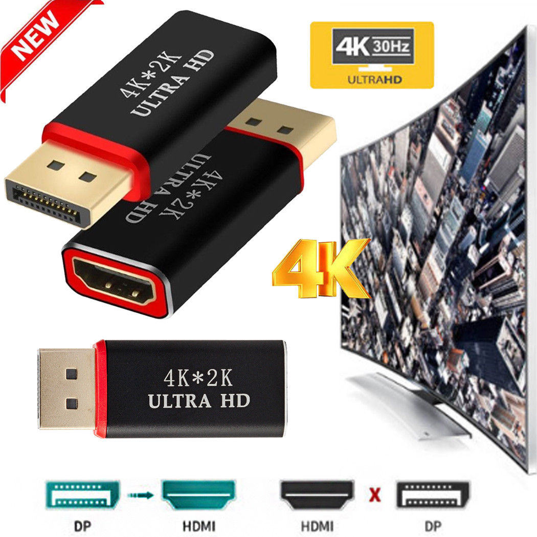 Displayport to HDTV Adapter 4k*2K Display Port to HDMI Male Female Adapter Converter  black