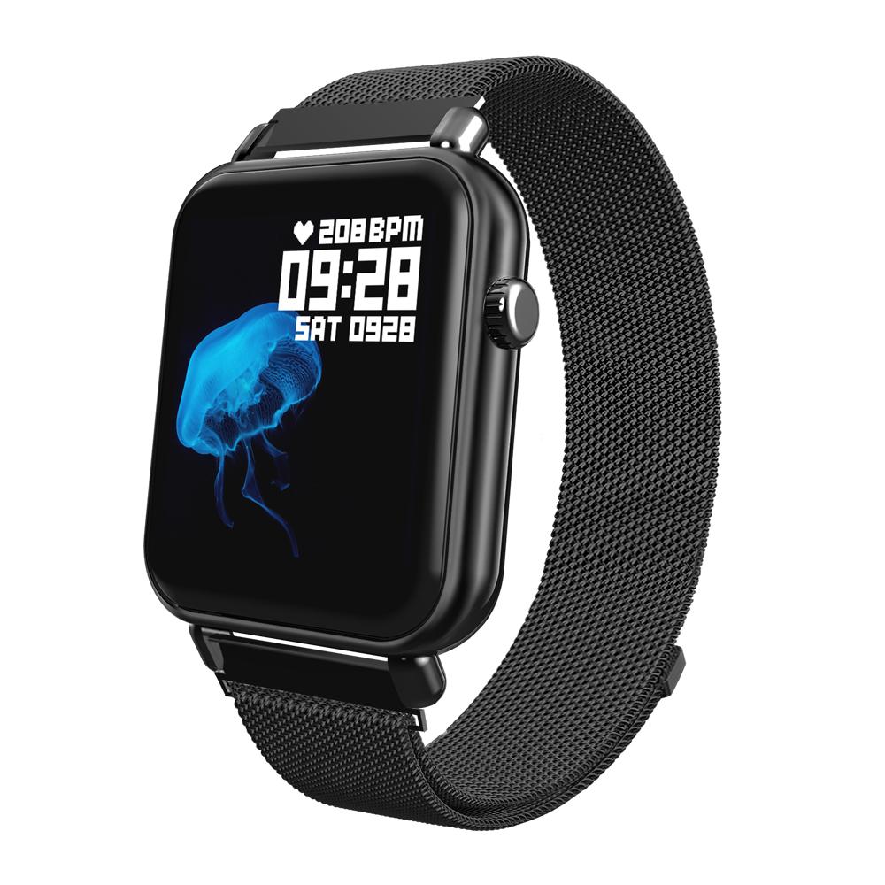 Y6Pro Smart Bracelet 1.3-inch Color Screen Real-time Heart Rate Blood Pressure Sleep Monitoring IP67 Waterproof Sports Watch black steel stap