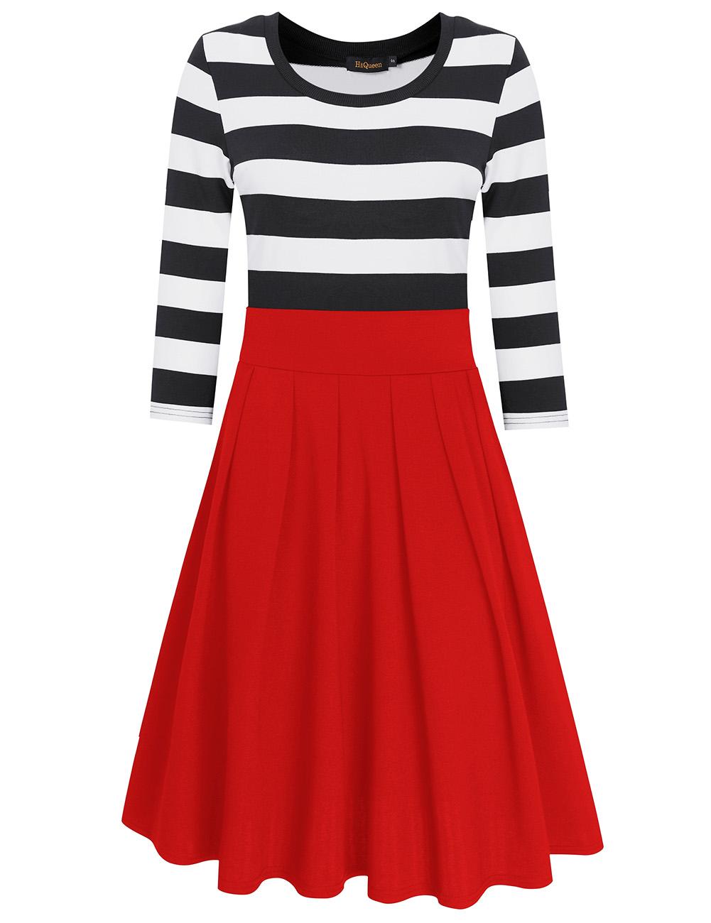 HiQueen Women Casual Scoop Neck 3/4 Sleeve A-Line Swing Dress Stripe Modest Dresses Red_S