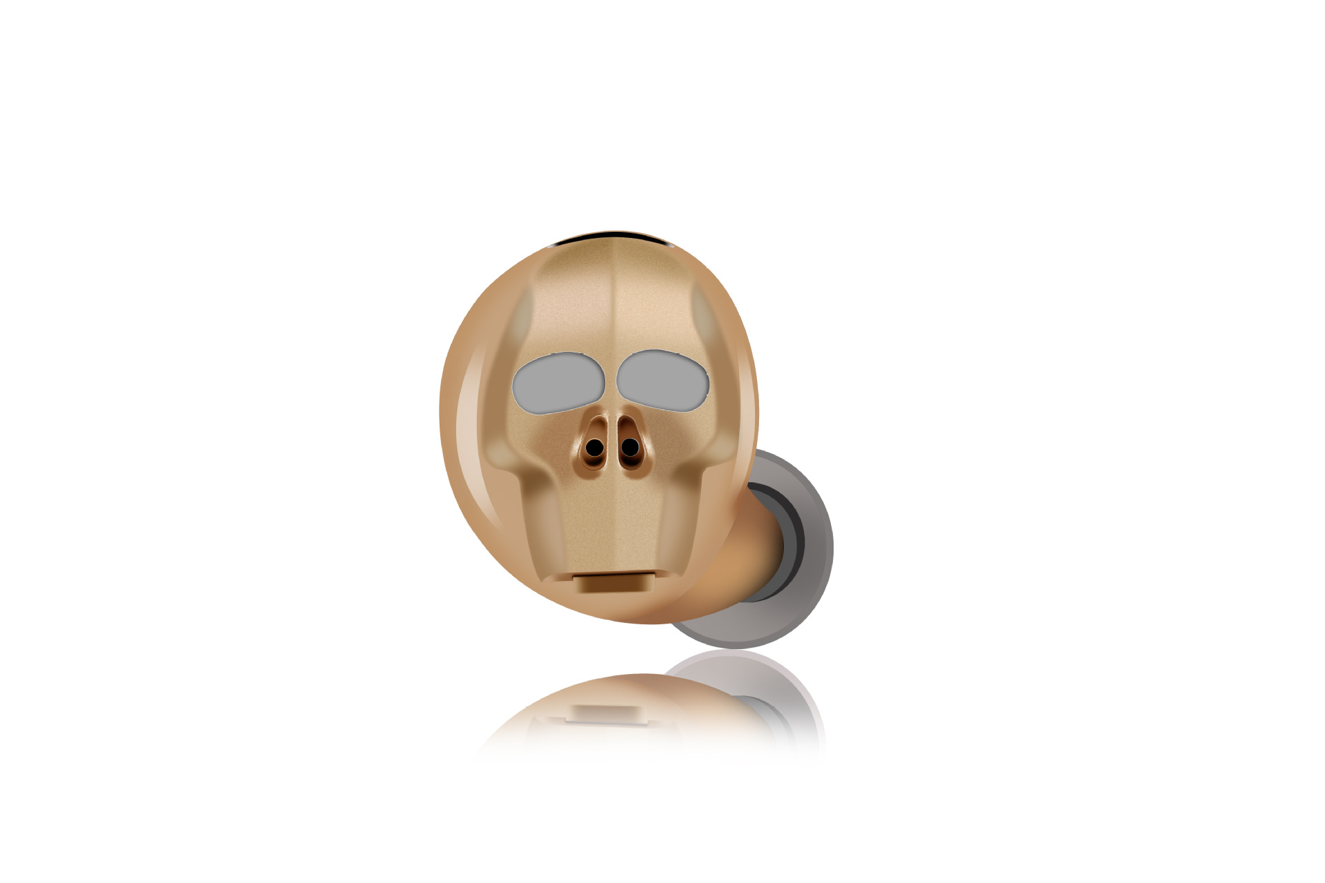 Wireless Headset Invisible Earplugs Mini Wireless Skull Head Design Sweatproof Noise Reduction Hands-free Headphone for Driving Outdoor Sports gold