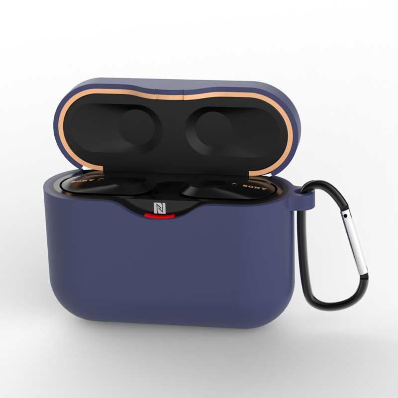 Silicone Case for SONY WF-1000XM3 Bluetooth Earphone Charging Box Cover Soft Shell with Anti-lost Hook navy blue_for SONY WF-1000XM3