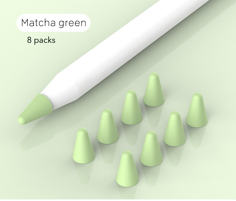 8pcs/set Silicone Case for Apple Pencil Pocket Cover Accessories for iPad Pro Soft Grip Nib Covers green