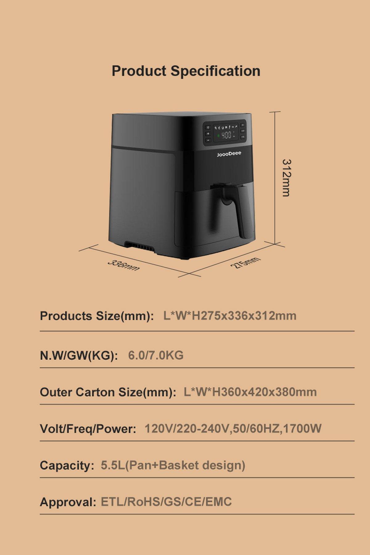 JoooDeee 5.8 QT Electric Air Fryer Hot Oven Oilless Cooker
