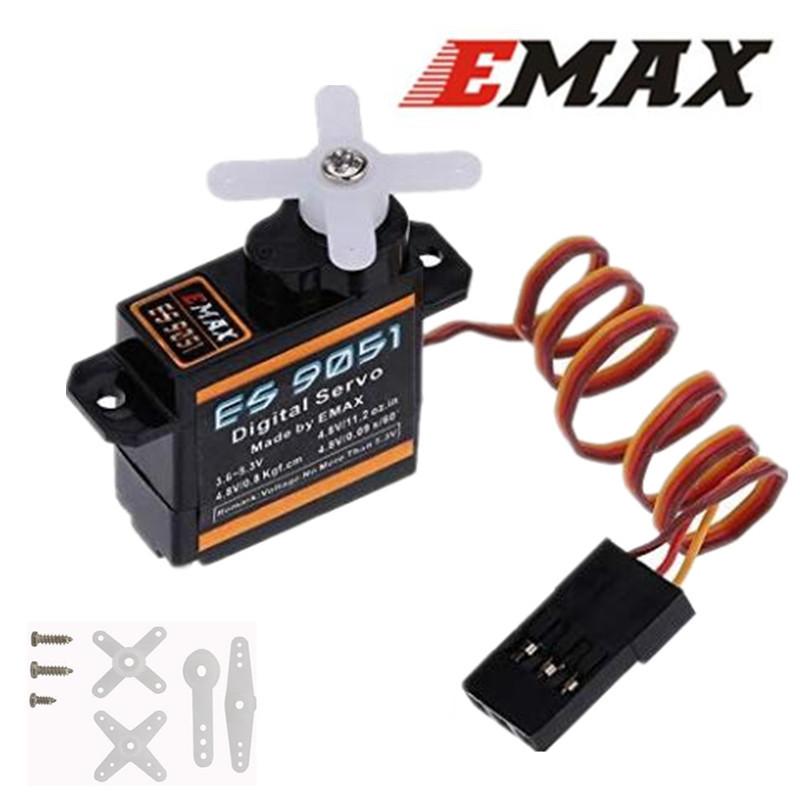 EMAX ES9051 4.3g Digital Mini Servo Motor Plastic Gear 0.8kg Torque for 3D F3P Airplanes black