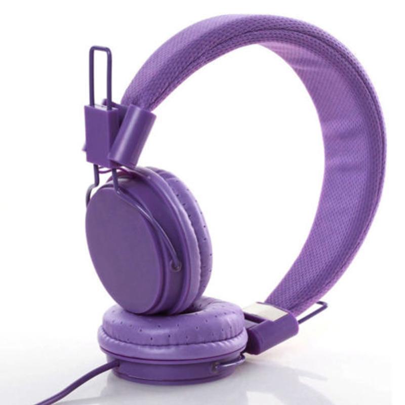Kids Wired Ear Headphones Stylish Headband Earphones for iPad Tablet  purple