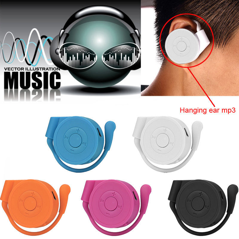 Sport Running Earhook USB Digital MP3 Music Player Support 32GB Micro SD TF Card white