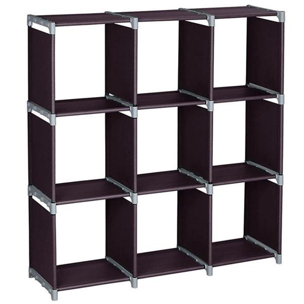 [US Direct] 3 Layer 9 Compartment Storage  Cube Pvc Brown Convenient Shelf Durable Shelf Brown
