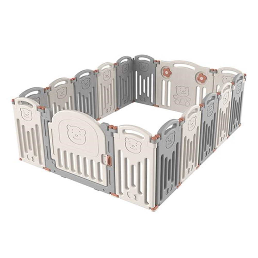 [US Direct] Baby Safety Fence Bear-pattern Gray And White Foldable Baby Care Playpen gray