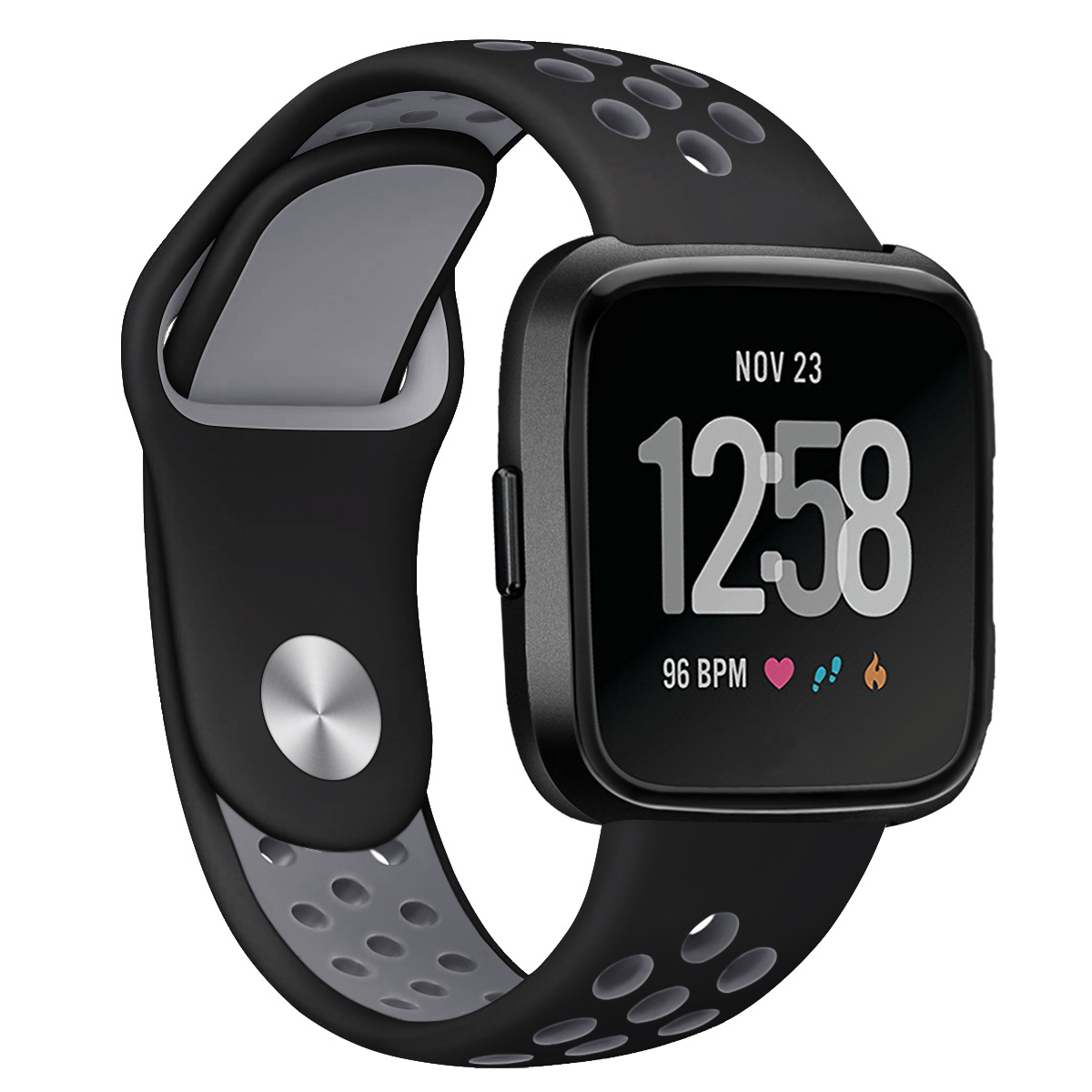 Replacement Band Sport Breathable Silicon Wristband Watch Strap for Fitbit Versa Black with gray