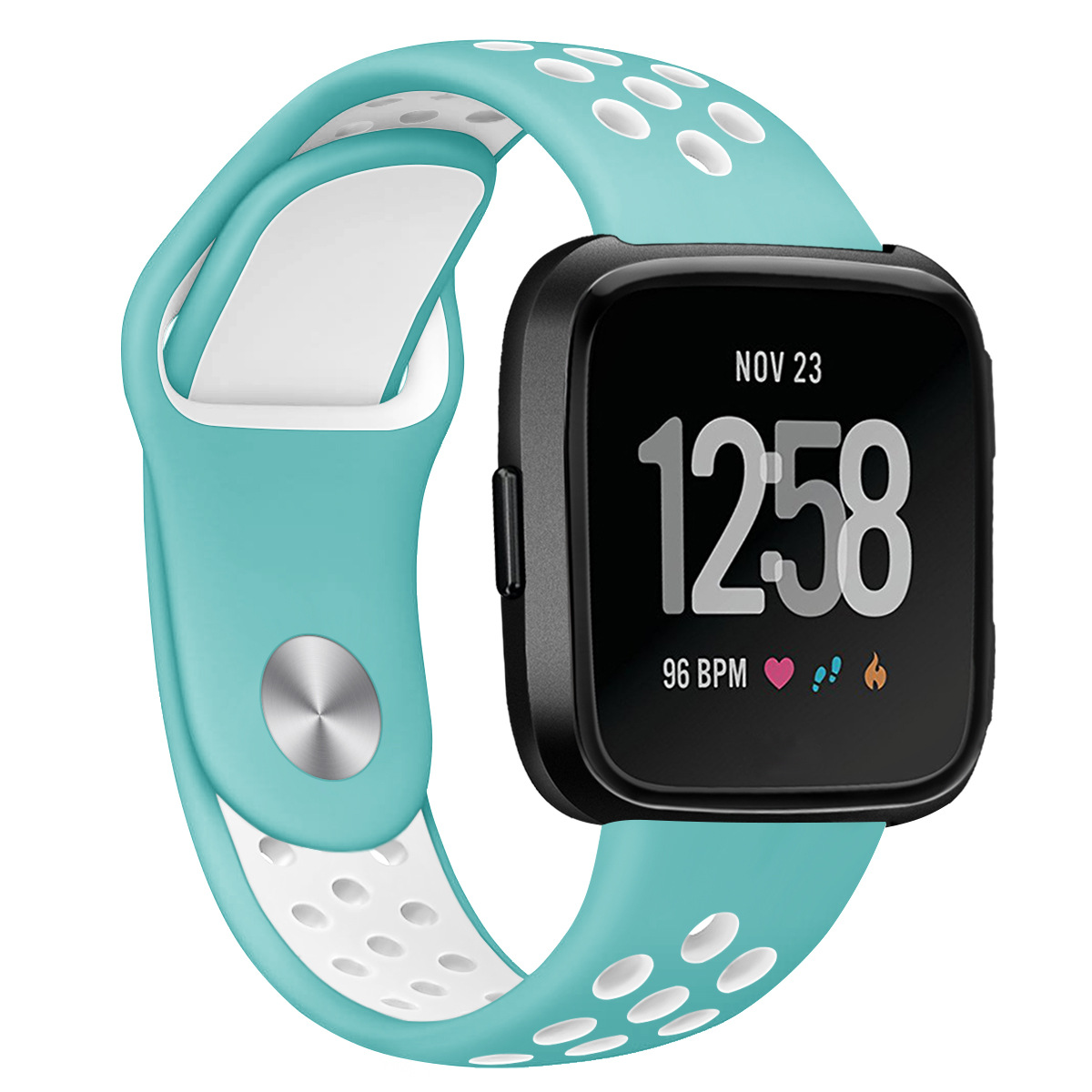 Replacement Band Sport Breathable Silicon Wristband Watch Strap for Fitbit Versa Blue with white