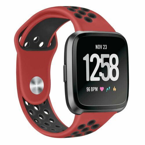 Replacement Band Sport Breathable Silicon Wristband Watch Strap for Fitbit Versa Red with black