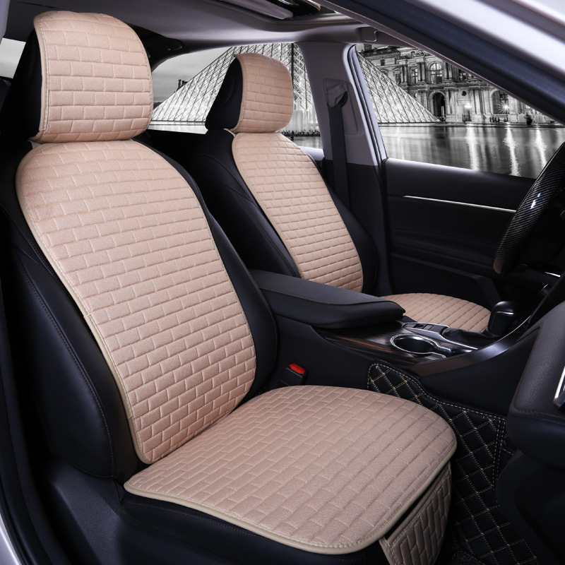 Car Seat Cover set Four Seasons Universal Design Linen Fabric Front Breathable Back Row Protection Cushion Warm beige small waist_Small 3-piece suit