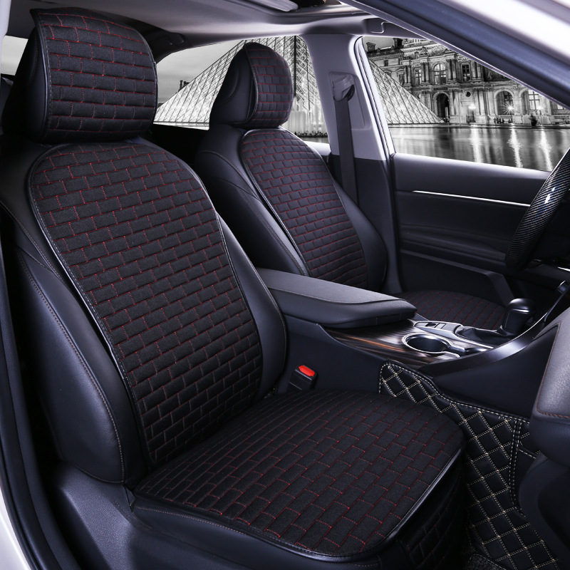 Car Seat Cover set Four Seasons Universal Design Linen Fabric Front Breathable Back Row Protection Cushion Black and red waist_Small 3-piece suit