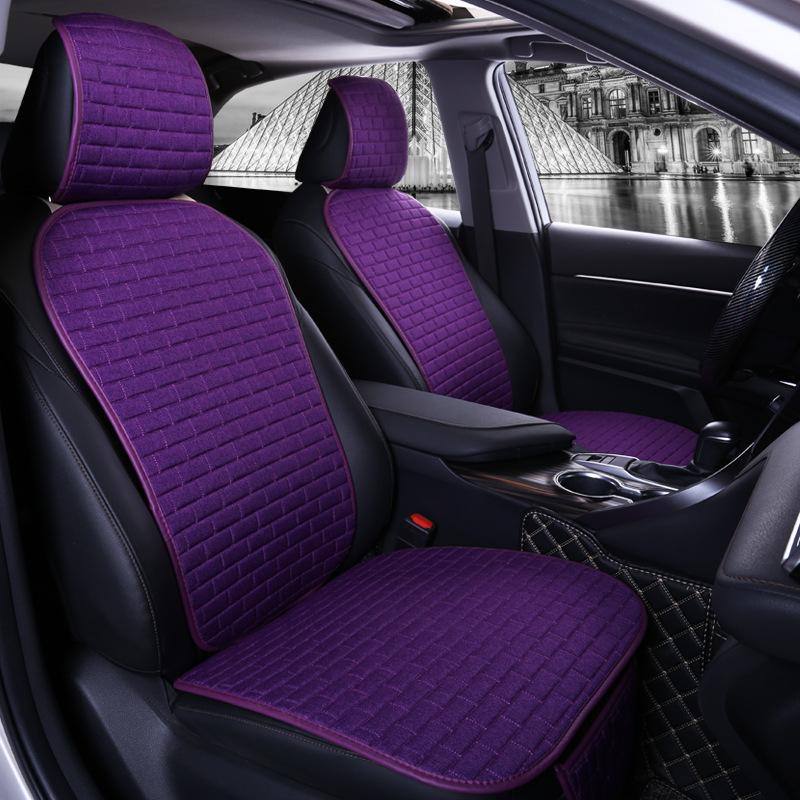 Car Seat Cover set Four Seasons Universal Design Linen Fabric Front Breathable Back Row Protection Cushion Romantic purple waist_Small 3-piece suit