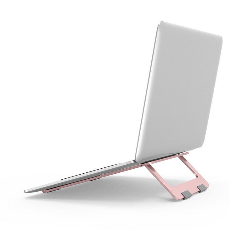 Adjustable Laptop Stand Foldable Lightweight Ventilated Laptop Riser Holder for Desk with Anti-Slip Design Portable Bracket Rose gold